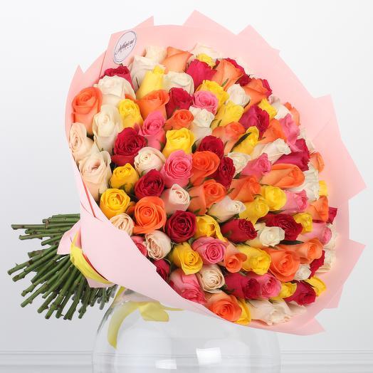 Нежный Микс 101 Розы: букеты цветов на заказ Flowwow