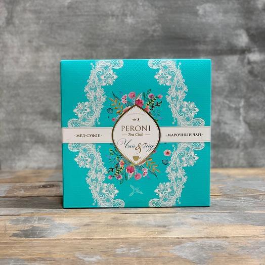 Подарочный набор с мёдом суфле и марочным чаем: букеты цветов на заказ Flowwow