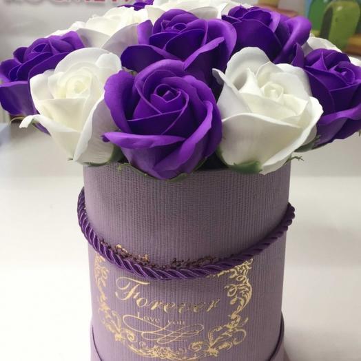 Цветы на 23 февраля мыльные ароматизированные в коробке