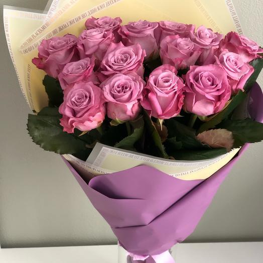 Букет «Волшебство» из 15 фиолетовых роз
