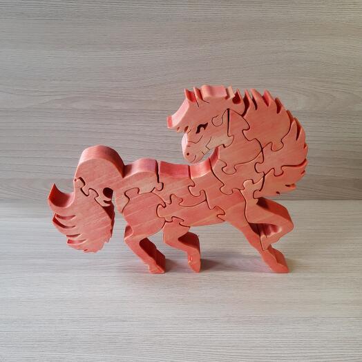 """Деревянный пазл из кедра ручной работы """"Красный конь"""", 14 элементов"""