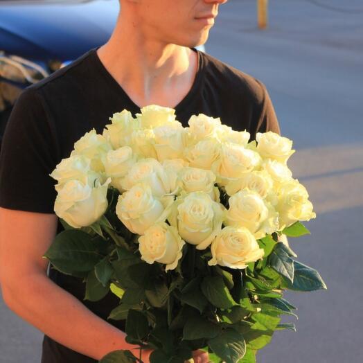 "Роза белая ""Mondial"" Эквадор 70 см"