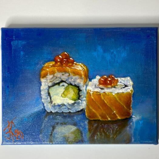 """Картина """"Суши"""" 24*18 см. масло, холст"""