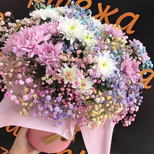 Цветы в коробке «Малиновые сны»
