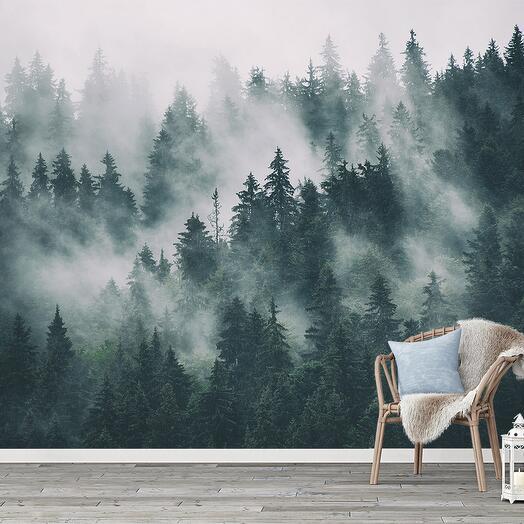 """Фотообои Флизелиновые с виниловым покрытием Природа """"Туманный лес"""" 400х270 см"""