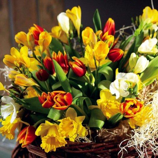 Корзиночка весенних цветов: букеты цветов на заказ Flowwow
