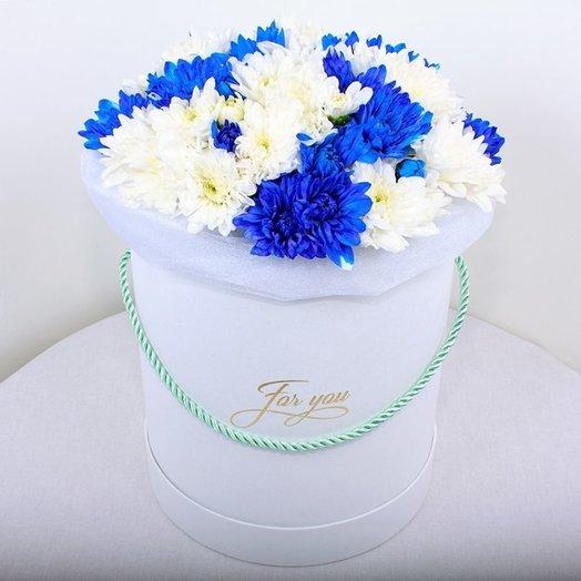 15 сине-белых хризантем в круглой коробке: букеты цветов на заказ Flowwow