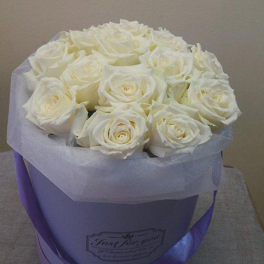 Коробка из 15 белых роз