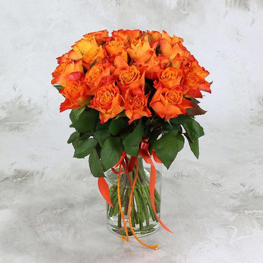 Букет из 25 оранжевых роз 40 см