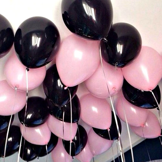 Воздушные шары 30 шт чёрно-розовые: букеты цветов на заказ Flowwow