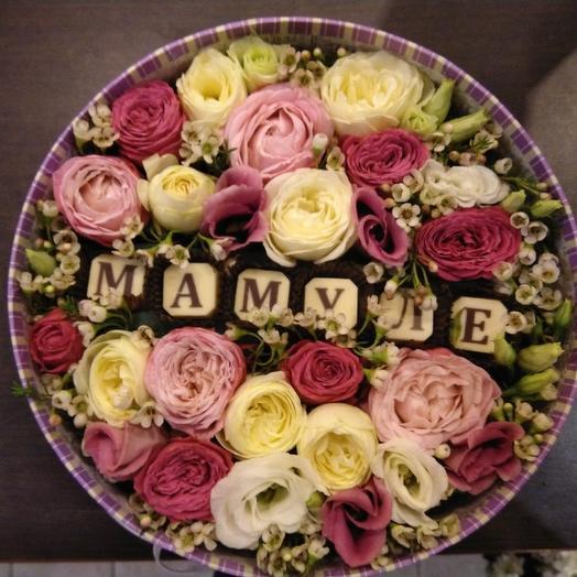 "Композиция в круглой коробке ""Мамуле"": букеты цветов на заказ Flowwow"