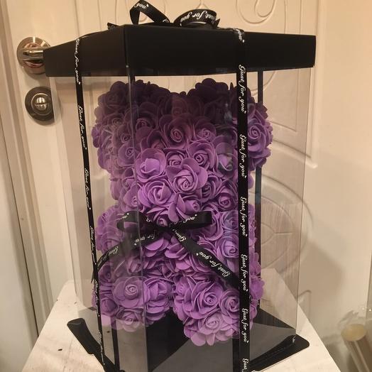 Мишка из роз 20 см, фиолетовый: букеты цветов на заказ Flowwow