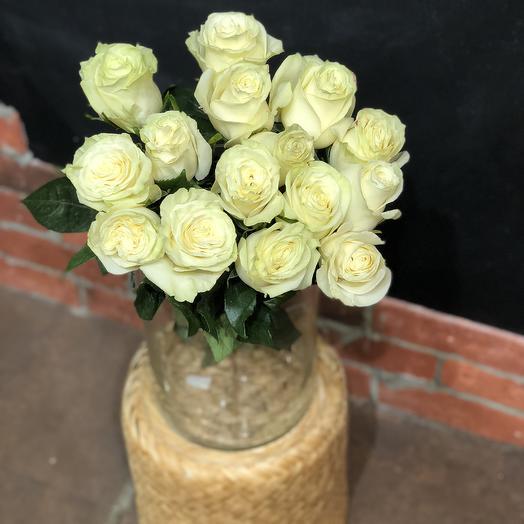 15 белых роз с зеленоватым оттенком высотой 50 см: букеты цветов на заказ Flowwow