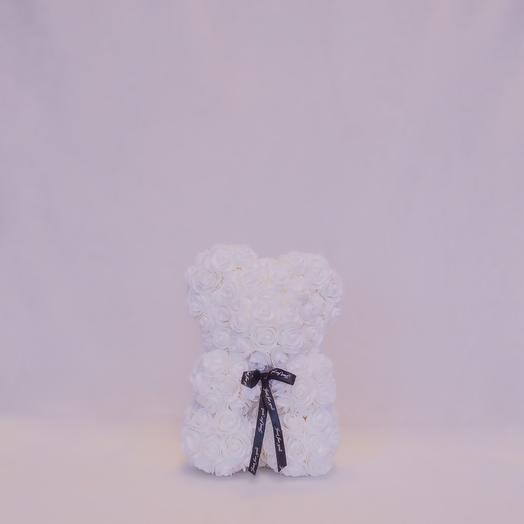 Мишка из роз RozaRose Белый - 25 см: букеты цветов на заказ Flowwow