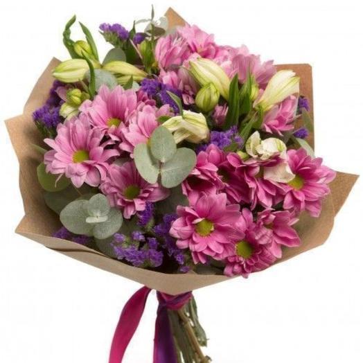 Букет из хризантемы и альстромерии: букеты цветов на заказ Flowwow