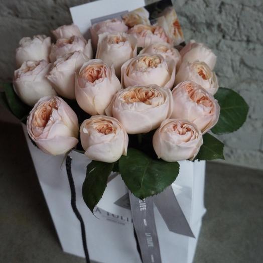 Джульетта Девида Остина / 11 шт / в фирменном пакете La Tulipe: букеты цветов на заказ Flowwow