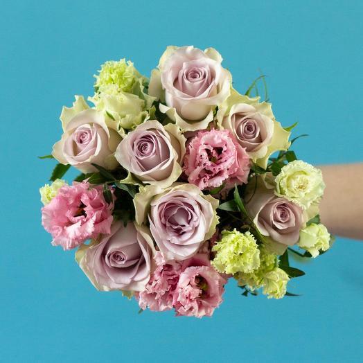Розы морнинг дью и эустома: букеты цветов на заказ Flowwow