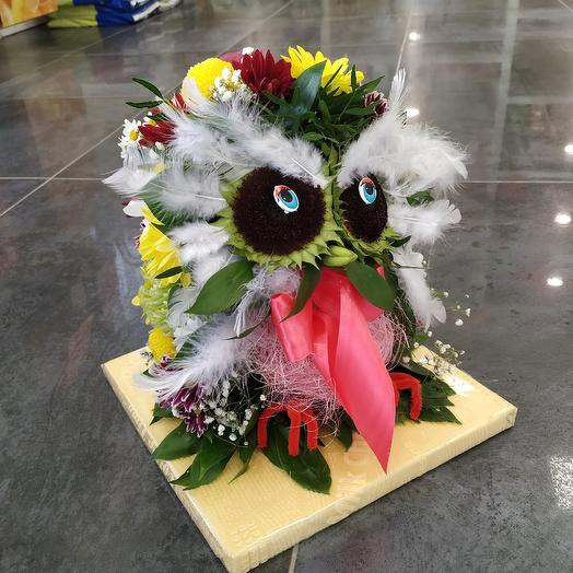 Мудрая сова 🦉из живых цветов: букеты цветов на заказ Flowwow