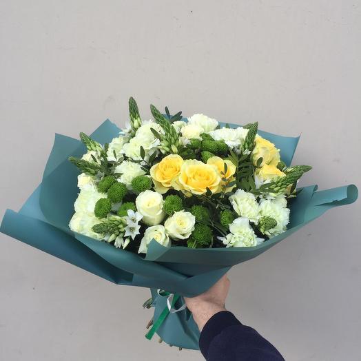 Букет роз, хризантем, орнитогалум: букеты цветов на заказ Flowwow