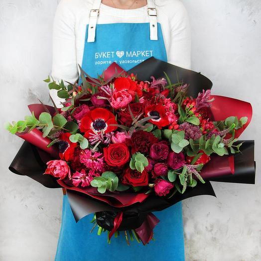 Букет из роз, анемон и тюльпанов - Кармен
