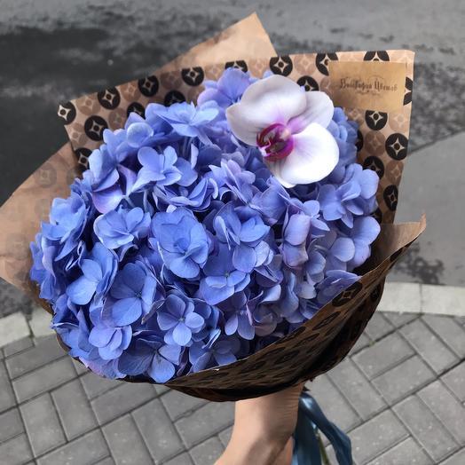 Шикарная гортензия с бабочкой-орхидей кой для любимой: букеты цветов на заказ Flowwow