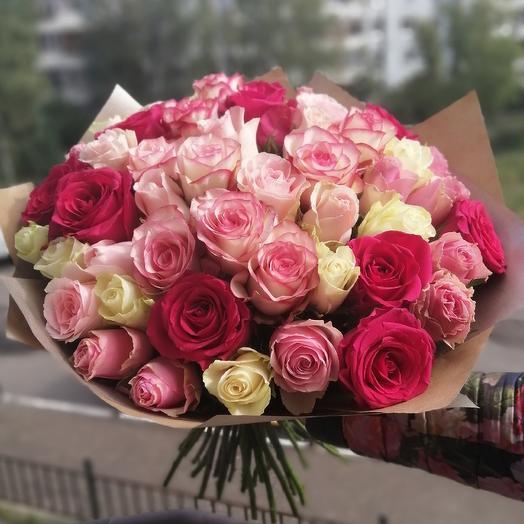51 роза в крафте!💗: букеты цветов на заказ Flowwow
