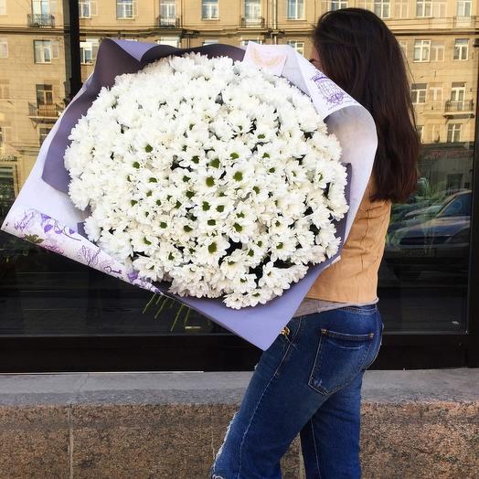 """Букет из белых кустовых хризантем """"Невинность"""": букеты цветов на заказ Flowwow"""