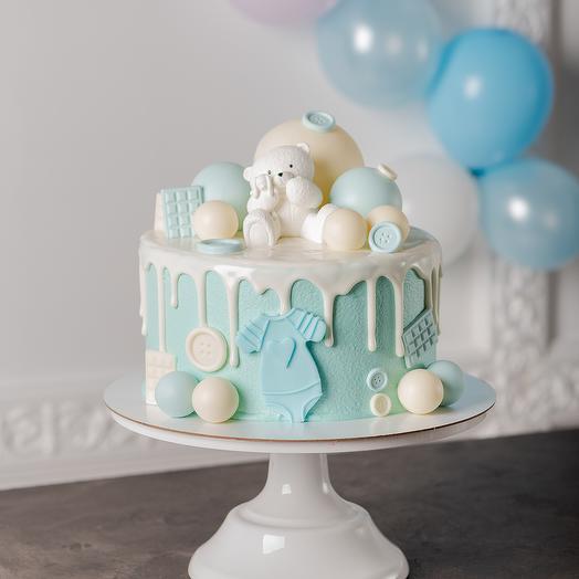 Детский торт для мальчика без мастики с шоколадным мишкой