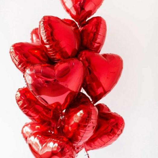 """Связка фольгированных сердец""""Красный"""""""
