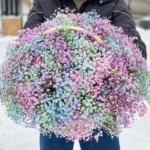 Корзина с цветами радужной гипсофилы