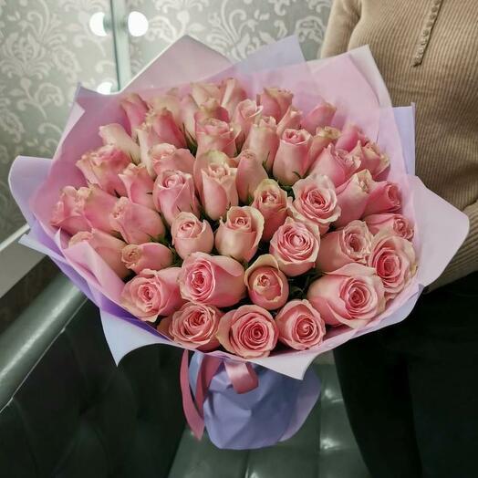 51 Розовая роза Кения  40см