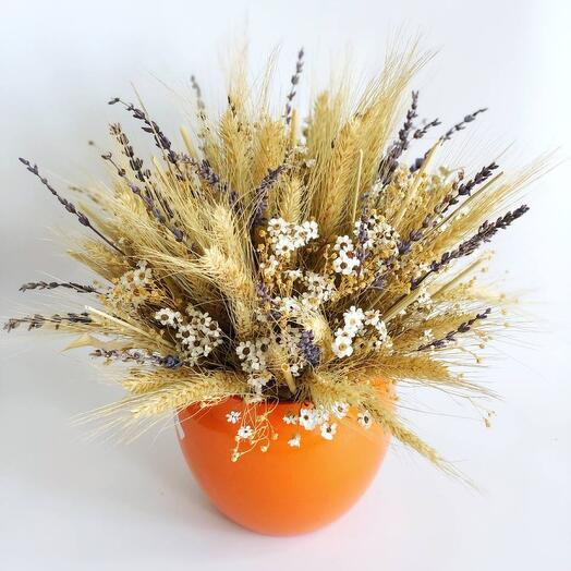 Композиция в керамическом кашпо с сухоцветами