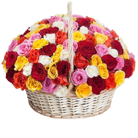 Корзина из 101 розы микс: букеты цветов на заказ Flowwow