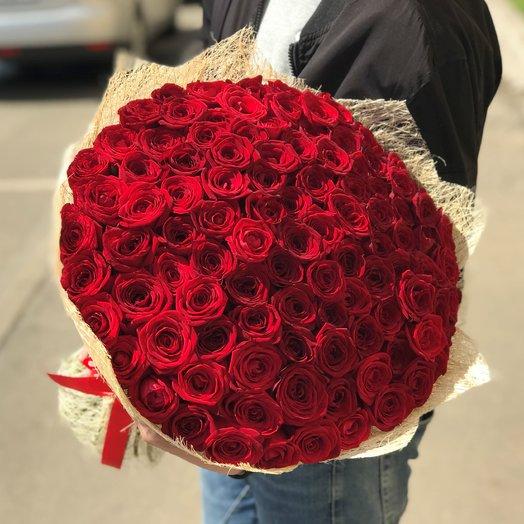 Букет из  101 розы ( 70 см ) Красная N116: букеты цветов на заказ Flowwow