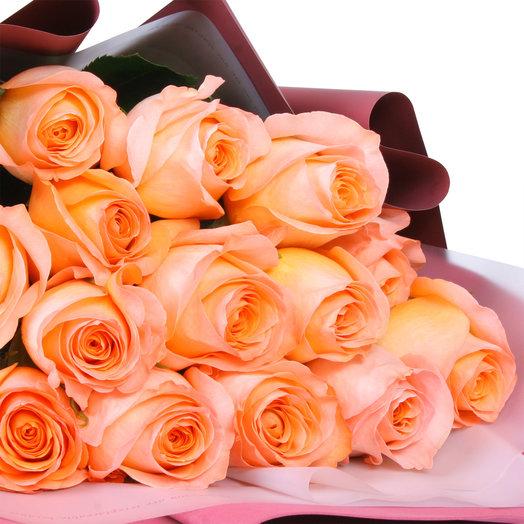 Букет из 15 коралловых эквадорских роз: букеты цветов на заказ Flowwow