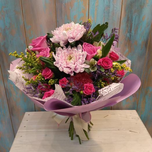 Красивый букет из роз, хризантемы и альстромерии: букеты цветов на заказ Flowwow