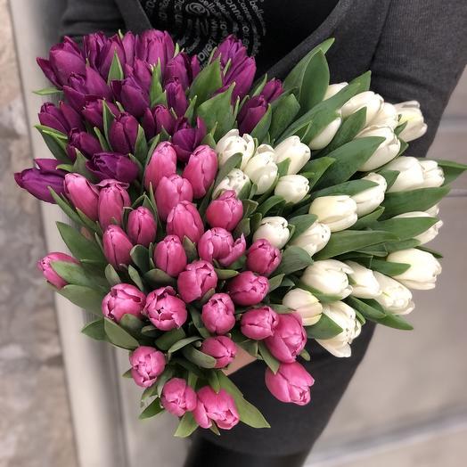 Букет из 101 разноцветного тюльпана: букеты цветов на заказ Flowwow