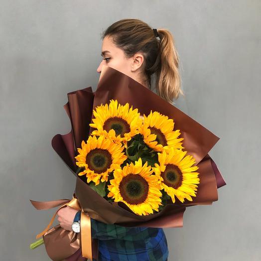 Моно букет из подсолнухов N17: букеты цветов на заказ Flowwow