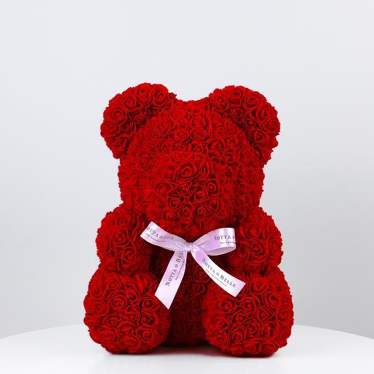 Мишка из роз 35 см красный: букеты цветов на заказ Flowwow