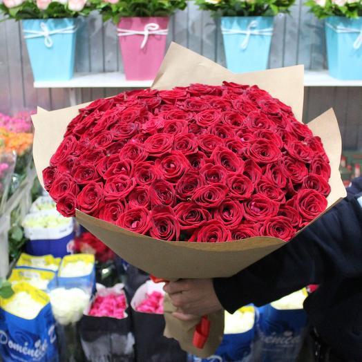 Красные 101 штук розы