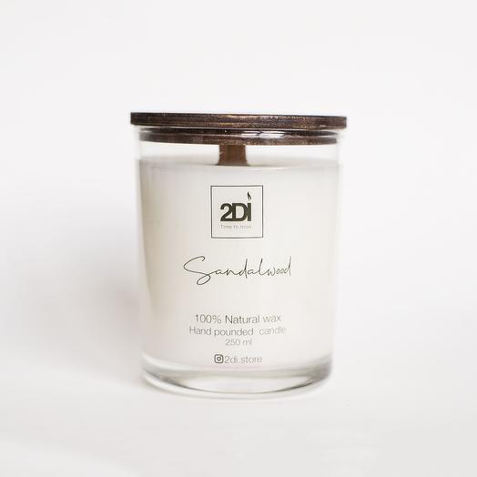 Натуральная аромасвеча ручной работы 250 мл, хлопковый фитиль - Sandalwood, Сандаловое дерево