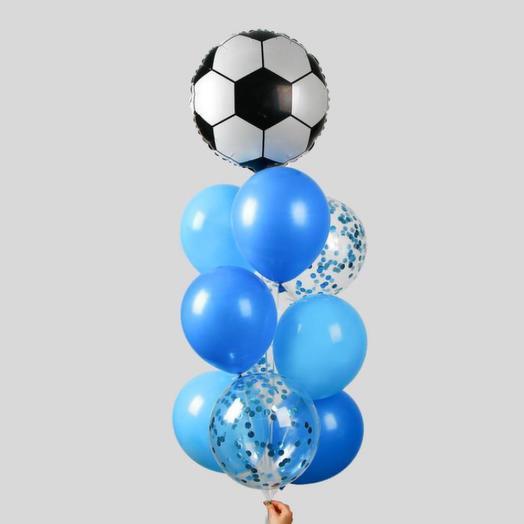 """Фонтан из шаров """"Футбол"""", для мальчика, с конфетти, латекст, фольга, 10 шт"""