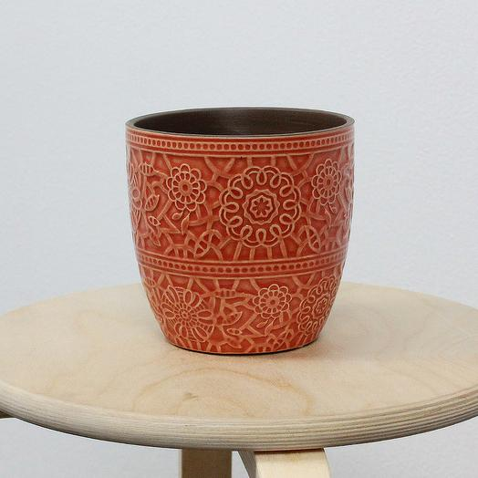 Керамическое Кашпо с Паттерном Антик Оранжевое d14