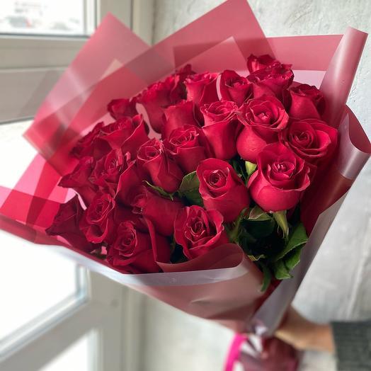 Монобукет из 25 красных Роз