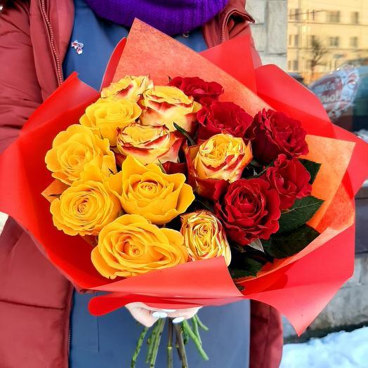 "Букет роз ""Огонь любви"""