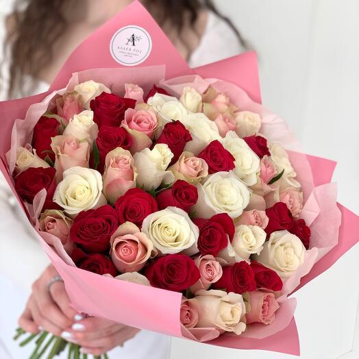Букет из 51 розы Кения микс
