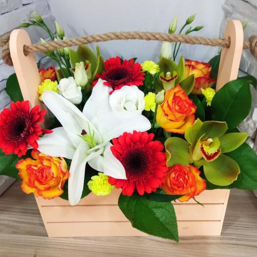 Ящик с Лилией и орхидеей
