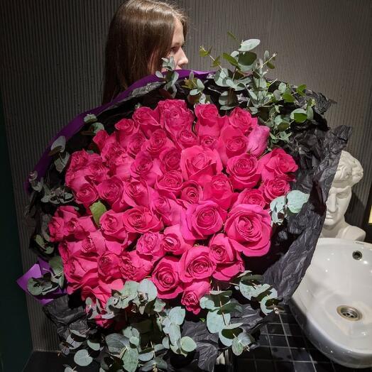М176 - Моно букет 51 роза Пинк Флойд Эквадор