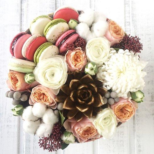 Круглая коробочка с золотым суккулентом и макаронами: букеты цветов на заказ Flowwow