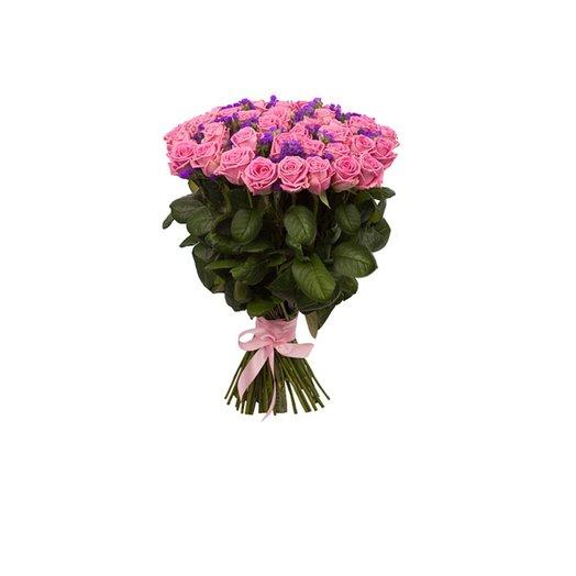 Букет из 51 розовой розы со статицей: букеты цветов на заказ Flowwow